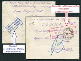 05567 WWI Russia FAR EAST Vladivostok Military CENSOR Seal 1915 Cancel Cover To Denmark Red Cross - Cartas