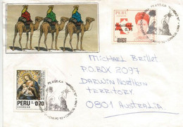 Navidad Del Trabajador Postal. (arrivée Des Rois Mages), Lettre 1992, Adressée En Australie - Perú