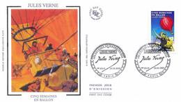 Enveloppe 1er Jour Personnages Célèbres 2005, Jules Verne, Cinq Semaines En Ballon, 2005 (YT 3789) - 2000-2009