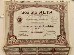 Sté  ALTA  ---------Dixième  De  Part  De  Fondateur - Industry