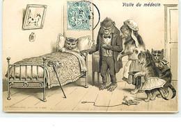 Carte Gaufrée - Visite Du Médecin - Docteur Singe Venant Soigner Un Chaton - Souris Jouet - Geklede Dieren