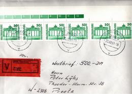 ! 1991, 50 Pfg. MeF, Wertbrief Aus Parchim, Marken Brandenburger Tor - Cartas