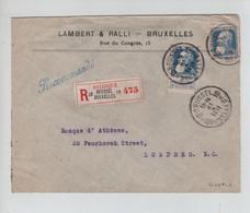 REF3535/ TP 76(2à) GB S/L.Lambert&Ralli En Recommandée C.BXL 10 1911 > Londres C.d'arrivée - 1905 Grosse Barbe