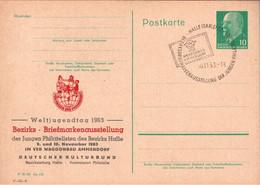 ! 1963, DDR Ganzsache Weltjugendtag Halle, Briefmarkenausstellung - Privatpostkarten - Gebraucht