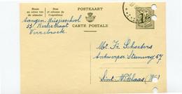 1957 Kaart 1.20 Fr - Meisjesschool Verrebroek ( Sterstempel ) Naar St Niklaas Firma Schoeters Katoenhandel - Cartes Postales [1951-..]