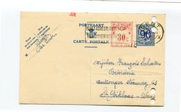 1953 Kaart 90c + Rode Bijfrankering 30c Klooster De Pinte Naar St Niklaas Firma Schoeters Katoenhandel - Cartes Postales [1951-..]