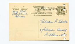 1956 Kaart 1.20 Fr School Beernem ( Lijnstempel ) Naar St Niklaas Firma Schoeters Katoenhandel - Cartes Postales [1951-..]