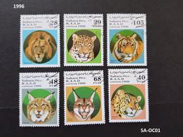 (SA-OC01) Timbres SAHARA OCCIDENTAL 1996 Série Félins Panthère Lion Tigre ... - Sahara Español