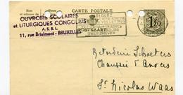 1957 Kaart 1.20 Fr OUVROIRS SCOLAIRES Et LITURGIQUES CONGOLAIS Naar St Niklaas Firma Schoeters Katoenhandel - Cartes Postales [1951-..]