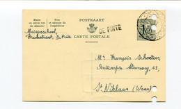 1958 Kaart 1.50 Fr School DE PINTE ( Lijnstempel )  Naar St Niklaas Firma Schoeters Katoenhandel - Cartes Postales [1951-..]