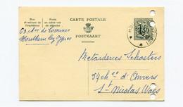 1958 Kaart 1.50 Fr  HOUTHEM Lez YPRES ( Sterstempel ) Naar St Niklaas Firma Schoeters Katoenhandel - Cartes Postales [1951-..]
