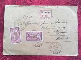 1923 BELVÈZE Aude✔️Lettre Recommandé Chargé VD -Timbres-Merson-☛Pézenas 34-Cachet Cire JM - Posttarife