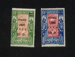 """SPM - 2 TIMBRES NEUFS N°289/290 DE 1942 """" TIMBRES DE 1932/1933 NOUVELLES VALEURS AVEC SURCHAGE FRANCE LIBRE FNFL"""" ETAT** - Neufs"""