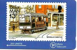 ISLE OF MAN  20 UNITS TRAIN ON 13p STAMP GPT  USED  READ DESCRIPTION !!! - Isla De Man