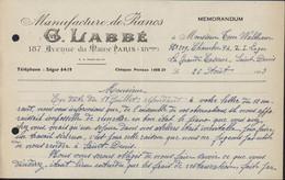 Guerre 39 45 Manufacture Piano Labbé Pour Grande Caserne St Saint Denis Censure Rouge Fronstalag 122 - WW II