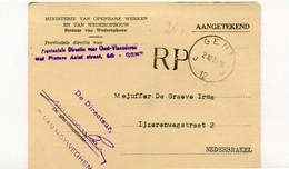 1959 Aangetekende Kaart Min. Van Openbare Werken Wederopbouw - GENT J 12 J - Naar Nederbrakel - Portvrij - RP - Cartes Postales [1951-..]