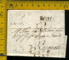 Piego Con Testo Roma Per Recanati Macerata - 1. ...-1850 Prefilatelia