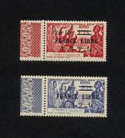 """SPM- 2 TIMBRES NEUFS N° 283 ET 284 DE 1941/1942 """"EXPOSITION DE NEW YORK NOUVELLES VALEURS"""" SURCHAGE FRANCE LIBRE FNFL - Neufs"""