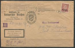 F0938 - DEUTSCHES REICH - Mi. Dienst 112 Als EF Auf Brief Von München > Bad Reichenhall (Zustellungsurkunde) - Officials