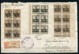 F0939 - DEUTSCHE POST IN POLEN - Mi. 1,6 + 7 (jeweils 6er-Block) Auf R-Brief Von Sieradz > Neustadt - Bedarf - Occupation 1914-18