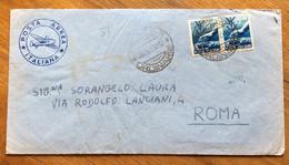REPUBBLICA : POSTA AEREA ITALIANA BUSTA DA SASSARI A ROMA CON COPPIA L.15 DEMOCRATICA IN DATA 26/9/50 - 1946-60: Marcophilia