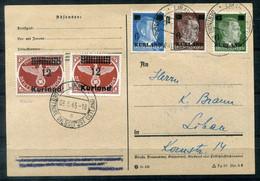 F0942 - DEUTSCHES REICH KURLAND - Mi. 1-3, 4A + 4B Gestempelt Auf Karte, Gepr. Richter (Plattenfehler 1 III ??) - Occupation 1938-45