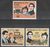 Côte D'Ivoire - YT 580-582 ** MNH - 1981 - Royal Wedding - Costa De Marfil (1960-...)