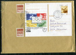 X065 - BUND - Ganzsache P50 (Olympische Spiele) Als Aufbrauch Und 2xMi. 501 Als Portogerechte Frankatur - Postales Ilustrados - Usados