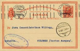DÄNEMARK 1909/13 10 Ö König Frederik, Fünf Kab.-GA-Postkrt. N. Bayern/Schweiz - Briefe U. Dokumente