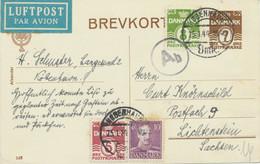 DÄNEMARK 1944 7 Öre Ziffer GA-Postkarte M. Zusatzfrankatur Als LUFTPOST-Karte - Aéreo