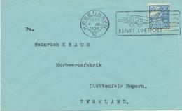 "DÄNEMARK 1938, Schöner Flugpost-Werbestempel ""KOBENHAVN / K. / BENYT LUFTPOST"" - Aéreo"