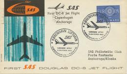 """DÄNEMARK 1960 Pra.-Erstflug Der SAS M. Douglas DC-8 Jet """"KOPENHAGEN - ANCHORAGE"""" - Aéreo"""