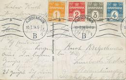 DÄNEMARK 1914, 1 Ö - 4 Ö Sehr Selt. Vierfarbenfrankatur A. Pra.-AK N. Dtland - Briefe U. Dokumente