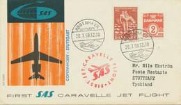 "DÄNEMARK 1959, Kab.-Erstflug Der SAS M. Caravelle Jet ""KOPENHAGEN - STUTTGART"" - Aéreo"