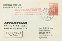 "DÄNEMARK 1959, Seltene Kab.-Erstflug Mit INTERFLUG ""KOPENHAGEN – BERLIN"" - Aéreo"