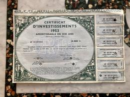 CERTIFICAT  D' INVESTISSEMENTS  1953  -------- 10.000 Frs - Ohne Zuordnung