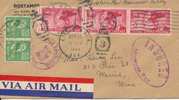 USA Insured Cover Little Rock Ark. 28-9-1949 Sent Air Mail To Merrill Wis. - Cartas