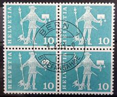 1960 Baudenkmäler Standesläufer Schwyz Viererblock MiNr: 697 - Used Stamps