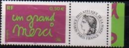 "France 2004 Personnalisés Y&T** N° 3637A "" Un Grand Merçi "" à 20% De La Cote - Gepersonaliseerde Postzegels"