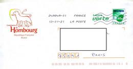 Pap Carte Verte Flamme Chiffree Sous Code Entete Mairie Hombourg Theme Lion - Prêts-à-poster:  Autres (1995-...)
