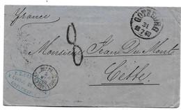 S186 / SCHWEDEN - Göteburg 1868 Mit Taxstempel 8 Nach Cette, Frankreich - Briefe U. Dokumente