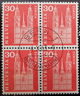 1960 Baudenkmäler Grossmünster Zürich Viererblock MiNr: 701 - Used Stamps