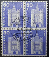 1960 Baudenkmäler Spalentor Basel Viererblock MiNr: 704 - Used Stamps
