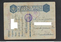 Posta Militare 139 UFFICIO PRIGIONIERI & RICERCHE CROCE ROSSA Roma Franchigia Da Svizzera X Lecce 1941 - Militaire Post (PM)