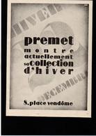 MODE Premet Paris - Publicité Papier Coupure De Presse  - Année 1927 - Publicidad