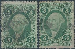 Stati Uniti D'america,United States,U.S.A,1862-71,Revenue Forn Exchange,old Paper 2x3c Grn,Used - Fiscaux