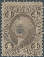 Stati Uniti D'america,United States,U.S.A,1862-71,Revenue Inld Exchange, Old Paper,4c Brn,Used - Fiscaux