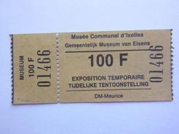 Ticket D'entrée - Musée D'Ixelles - Belgique - (Attention : Trace De Charnière Au Dos) - Tickets - Entradas