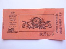 Ticket D'entrée - Musée Révolution Française Chateau De Vizille - Isère - (Attention : Trace De Charnière Au Dos) - Tickets - Entradas