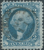 Stati Uniti D'america,United States,U.S.A,1862-71,Revenue Bank Check, 2c Ble,Used - Fiscaux